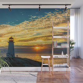Golden Sky at Peggy's Cove Lighthouse, Nova Scotia Wall Mural