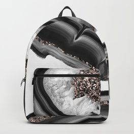 Gray Black White Agate with Rose Gold Glitter #2 #gem #decor #art #society6 Backpack