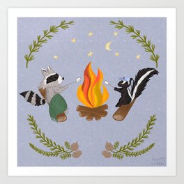 Campfire Friendship / Raccoon and Skunk making s'mores Art Print