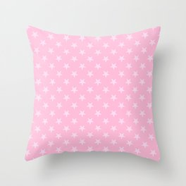 Pink Lace Pink on Cotton Candy Pink Stars Throw Pillow