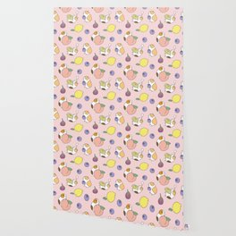 Guinea pig and fruits pattern Wallpaper