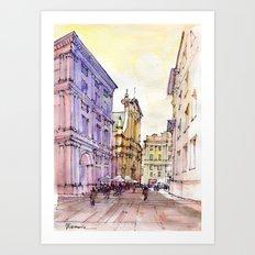 Scorcio di Piazza De Ferrari , Genoa Art Print