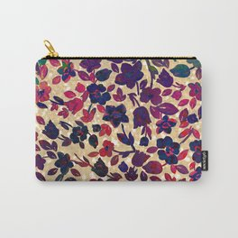 Chic gold glitter navy blue red green gradient floral Carry-All Pouch
