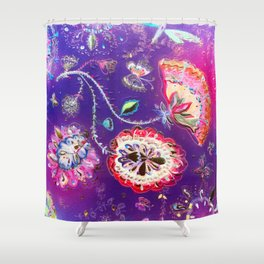 Purple Pink Butterfly Floral Garden Shower Curtain