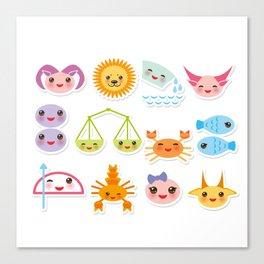 Funny Kawaii zodiac sign, astrological stiker virgo, aries, gemini, cancer, aquarius, taurus,  leo Canvas Print