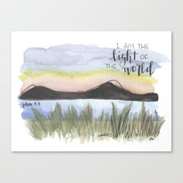 I am the light of the world // watercolor bible verse john Canvas Print