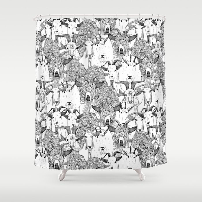 just goats black white Shower Curtain