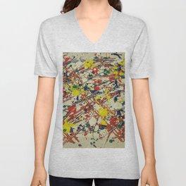Jackson Pollock, digitally modified, fine art decor and clothing Unisex V-Neck