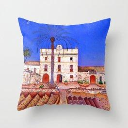 Joan Miro House with Palm Tree Throw Pillow