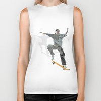 skateboard Biker Tanks featuring Skateboard 2 by Aquamarine Studio