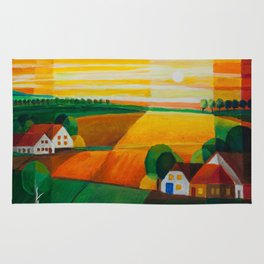 DoroT No 0181 – Summer Evening Over Village – Sommerabend über dem Dorf Rug