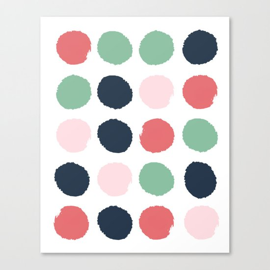 Painted dots abstract minimal modern art print for minimalist home decor nursery Canvas Print