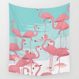 Kitschy Retro Flamingos Wall Tapestry