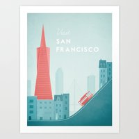 san francisco Art Prints featuring San Francisco by Travel Poster Co.