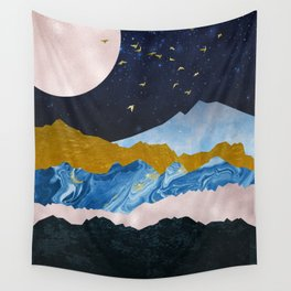 Golden View Mountain Peaks Wall Tapestry
