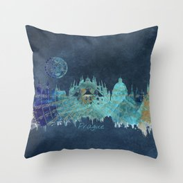 Prague skyline blue Throw Pillow