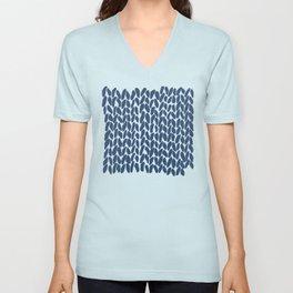 Half Knit Navy Unisex V-Neck