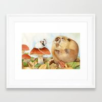beaver Framed Art Prints featuring Mouse & Beaver by Patrizia Donaera ILLUSTRATIONS