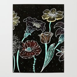 Flowers on black paper Poster