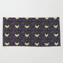 luna moth on midnight violet with stars Beach Towel