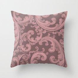 Retro Chic Swirl Bridal Rose Throw Pillow
