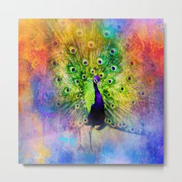 Jazzy Peacock Colorful Bird Art by Jai Johnson Metal Print