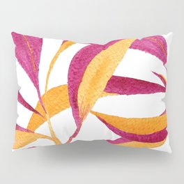Ruby and golden leaf pattern in watercolor Pillow Sham