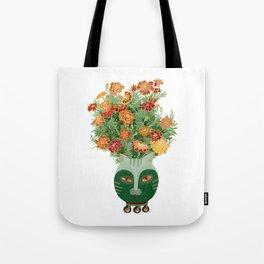 Marigolds in cat face vase  Tote Bag