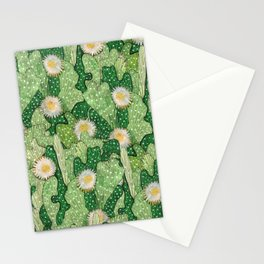 Cacti Camouflage, Green and White Stationery Cards