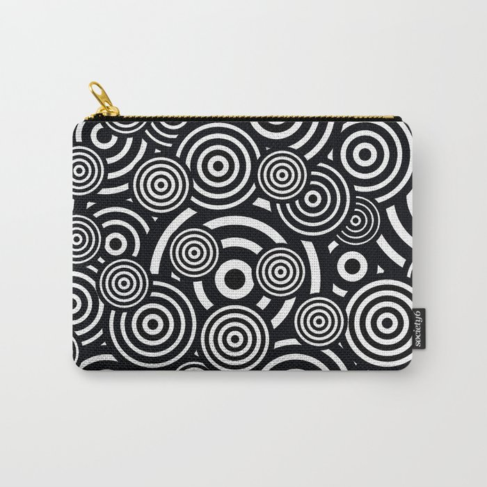 BLACK AND WHITE BULLSEYE ABSTRACT Carry-All Pouch