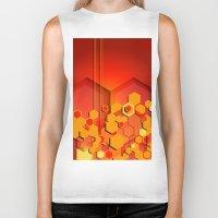 hexagon Biker Tanks featuring Hexagon Layers by Tami Cudahy