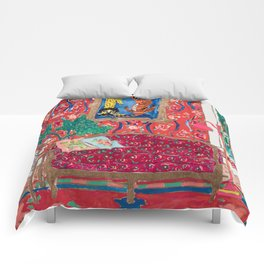 Red Interior with Lion and Tiger after Matisse Comforters