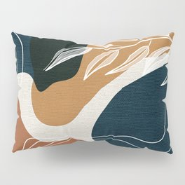 Leafy Lane in Navy and Tan 3 Pillow Sham