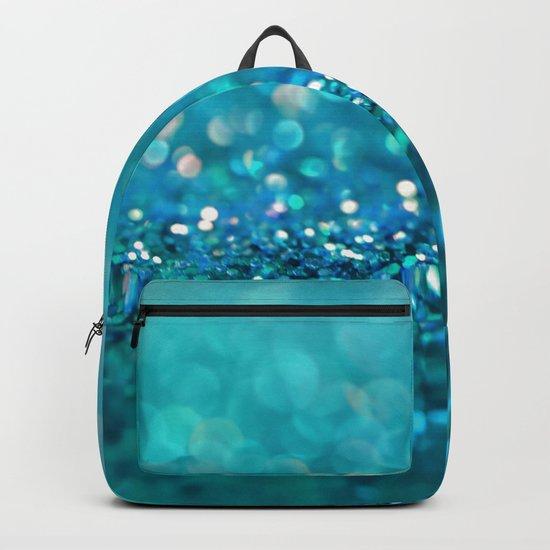Aqua turquoise blue shiny glitter print effect- Sparkle Luxury Backdrop Backpack