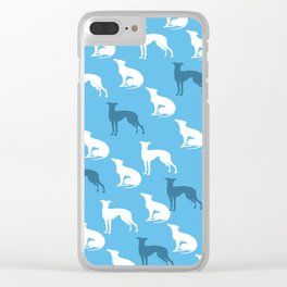 Greyhound Dogs Pattern On Blue Color Clear iPhone Case