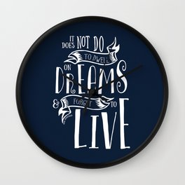 Dwell on Dreams - Dark Blue Wall Clock
