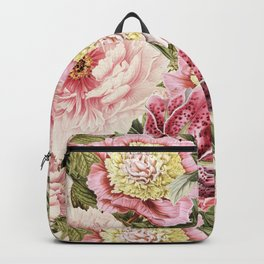 Vintage & Shabby Chic Floral Peony & Lily Flowers Watercolor Pattern Backpack
