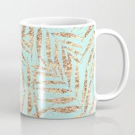 Elegant Gold Tropical Palm Leaves Mint Design Coffee Mug