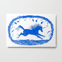 Blue Unicorn 02 Metal Print