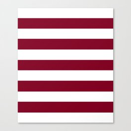 Burgundy - solid color - white stripes pattern Canvas Print
