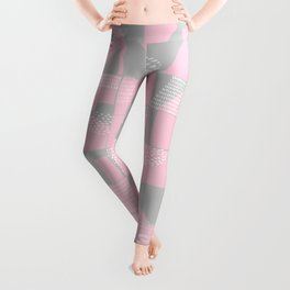 Blush and Gray Typographical Fragments Cheater Quilt Leggings