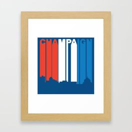 Red White And Blue Champaign Illinois Skyline Framed Art Print