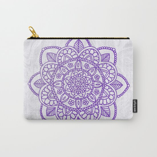 Purple Mandala on White Marble by julieerindesigns