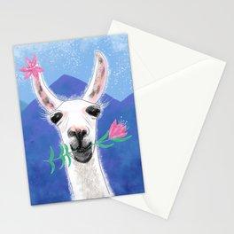 Llama Yama Portrait with flowers Stationery Cards