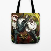 dragon age Tote Bags featuring Dragon Age UNBOUND by IVIDraws