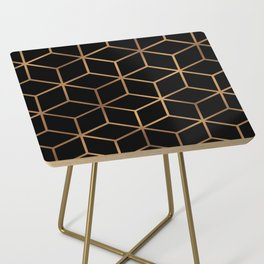 Black and Gold - Geometric Cube Design Side Table