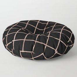 Diagonal Blush Rose Gold Checkered Pattern on Black Floor Pillow