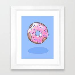 Pink Strawberry Donut Framed Art Print