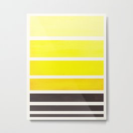 Yellow Minimalist Watercolor Mid Century Staggered Stripes Rothko Color Block Geometric Art Metal Print