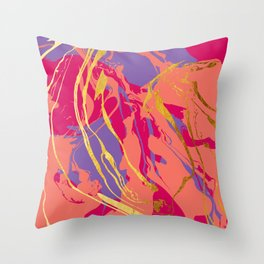 Bohemian Marble with Gold Throw Pillow